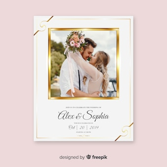 Beautiful wedding invitation card template with photo