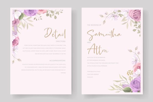 バラと葉の装飾が施された美しい結婚式の招待カードテンプレート Premiumベクター