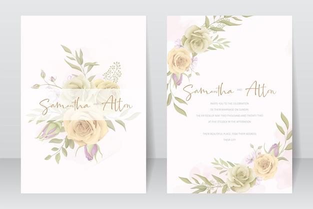 Красивый шаблон свадебного приглашения с розой и листьями