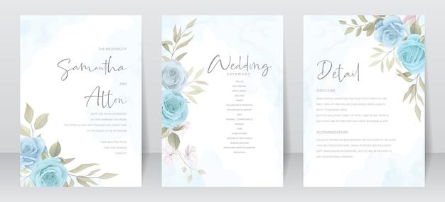 バラと葉の装飾が施された美しい結婚式の招待カードテンプレート