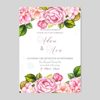 Beautiful wedding invitation card template with roses and flowers