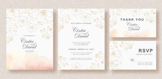 Beautiful wedding invitation card template with splash background and floral watercolor