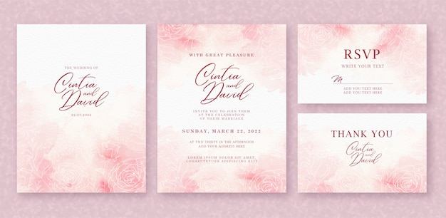 Beautiful wedding invitation card template with splash pink watercolor and flower  background