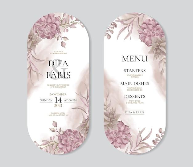 ヴィンテージ水彩花フレームと美しい結婚式の招待カードテンプレート