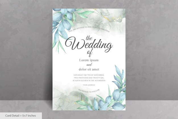 Красивый шаблон приглашения на свадьбу с акварельной рисованной листвой