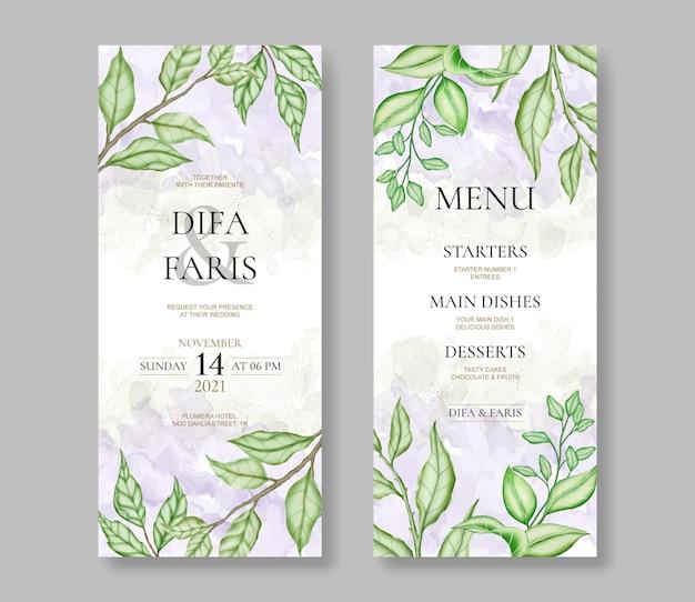 水彩画の葉と美しい結婚式の招待カードテンプレート