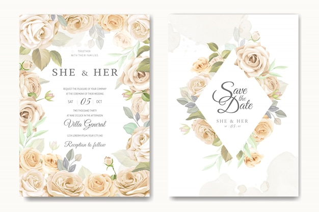 Beautiful wedding invitation card template with white and yellow roses