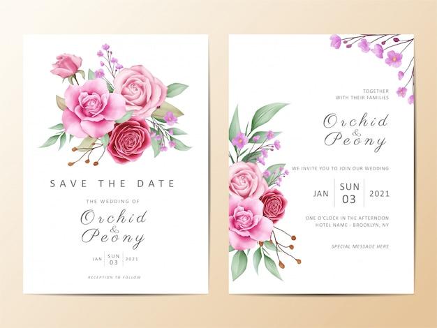 아름 다운 결혼식 초대 카드 템플릿