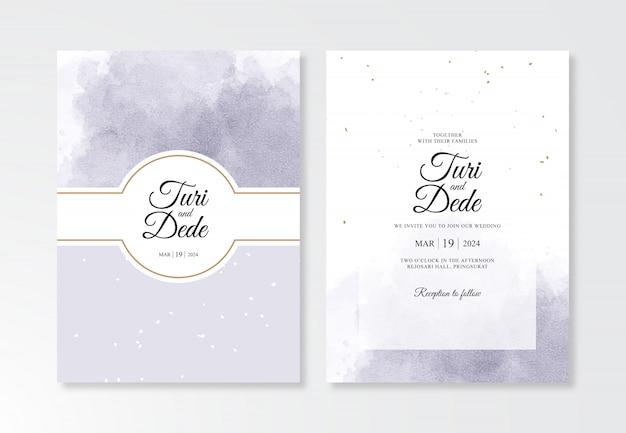 水彩水しぶきを持つ美しい結婚式の招待カードテンプレート