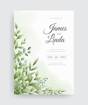緑の葉のデザインと美しい結婚式の招待カードのテーマ