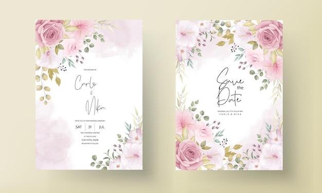 Красивая свадебная пригласительная открытка с красивым цветочным декором