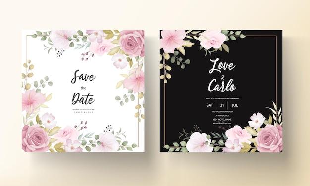 美しい花の装飾が施された美しい結婚式の招待カード