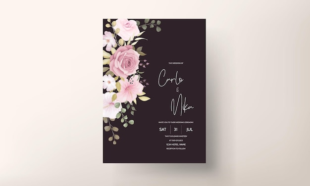 Beautiful wedding invitation card with beautiful flower decoration