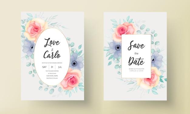 Bella carta di invito a nozze con bellissime decorazioni floreali