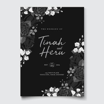 검은 꽃 화 환으로 아름 다운 결혼식 초대 카드
