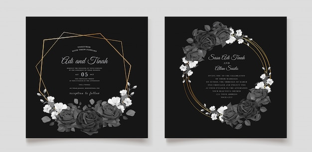 Beautiful wedding invitation card with black floral wreath