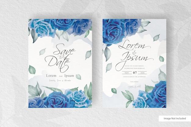 青い花と水彩のスプラッシュと美しい結婚式の招待カード