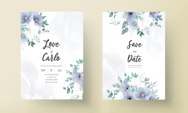 Beautiful wedding invitation card with blue flower