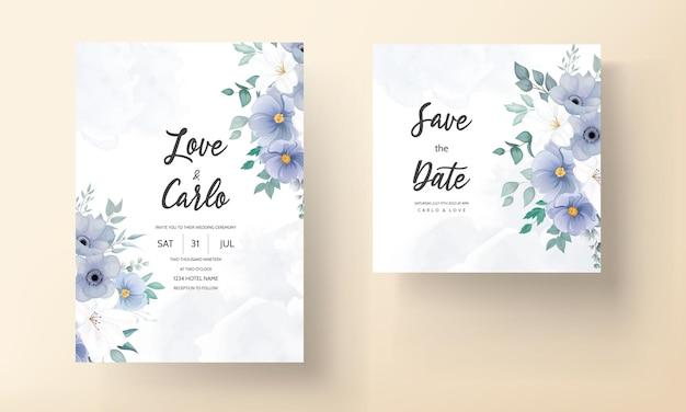 青い花の美しい結婚式の招待カード