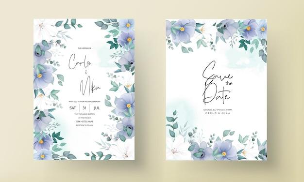 푸른 꽃과 아름 다운 결혼식 초대 카드