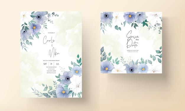 Красивая свадебная пригласительная открытка с синим цветком
