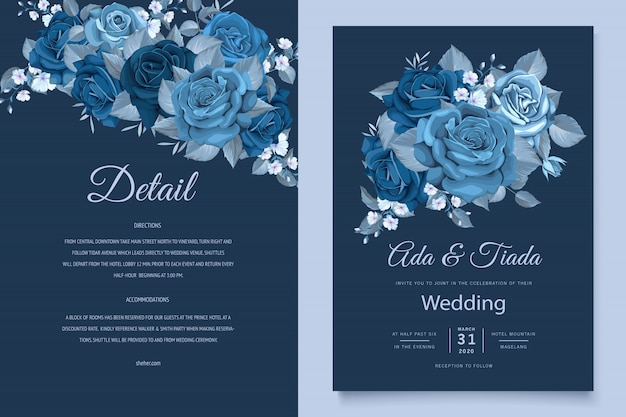 Beautiful wedding invitation card with classic blue floral wreath