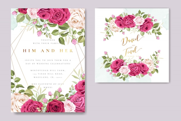 Beautiful wedding invitation card with colourful roses template