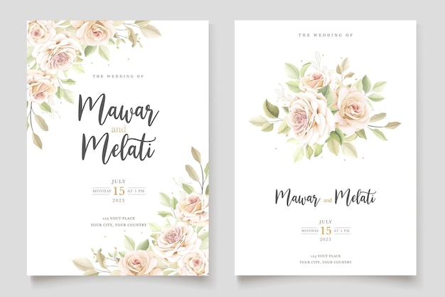 우아한 꽃 세트와 함께 아름 다운 결혼식 초대 카드