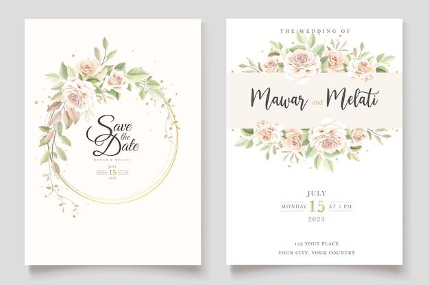 エレガントな花のセットと美しい結婚式の招待カード