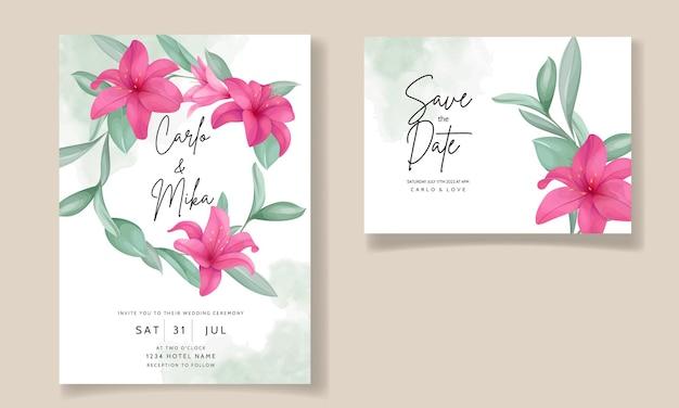 우아한 손으로 그린 백합 꽃과 아름 다운 결혼식 초대 카드