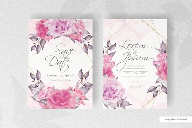 꽃과 수채화 스플래시와 아름 다운 결혼식 초대 카드