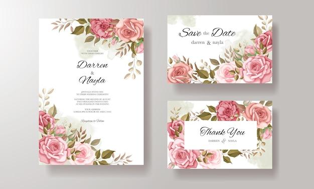 花柄の美しい結婚式の招待カード Premiumベクター