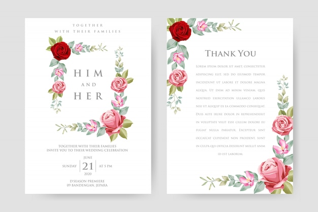 Beautiful wedding invitation card with floral frame