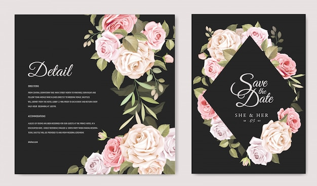 Beautiful wedding invitation card with floral and leaves template