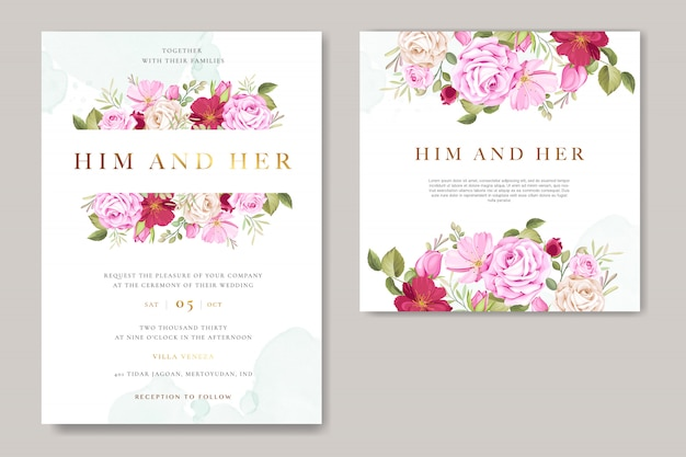 Beautiful wedding invitation card with floral and leaves wreath