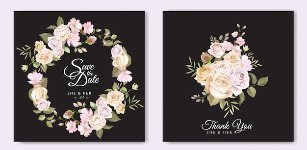 Beautiful wedding invitation card with floral template