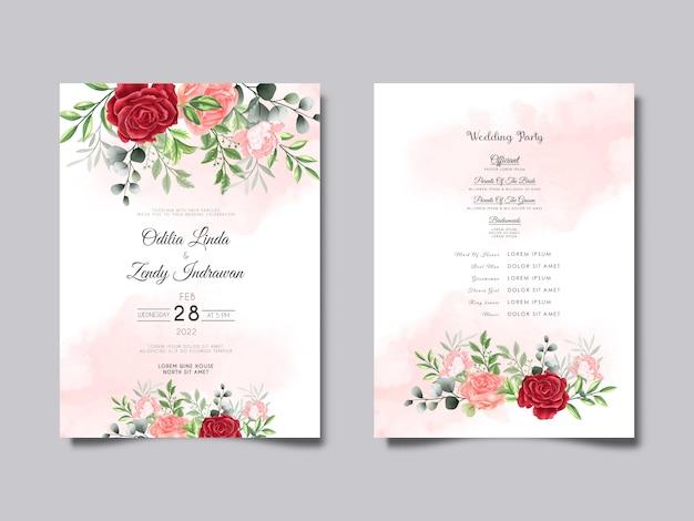 Красивая свадебная пригласительная открытка с цветочной акварелью