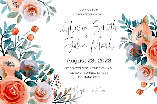 花の水彩画と美しい結婚式の招待カード