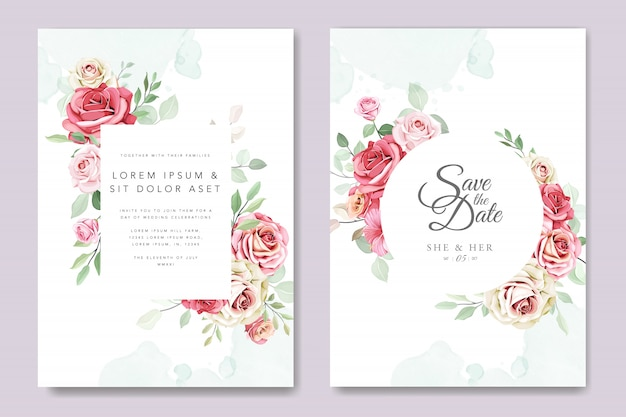 Beautiful wedding invitation card with floral wreath