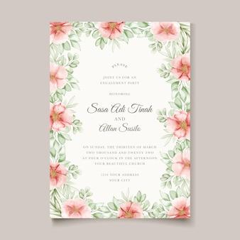 Carta di invito bel matrimonio con ghirlanda floreale