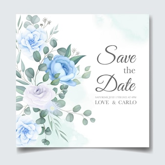 Красивая свадебная пригласительная открытка с цветочным декором