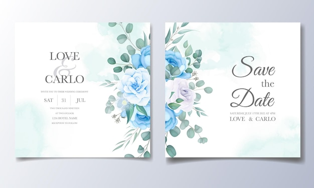 Beautiful wedding invitation card with flower decoration