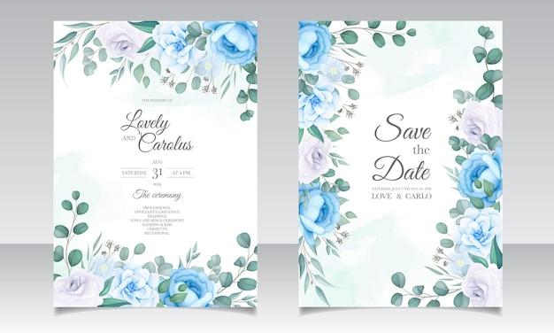 花の装飾が施された美しい結婚式の招待カード