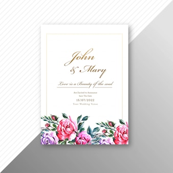 Beautiful wedding invitation card with flowers frame template