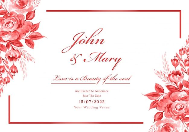 Beautiful wedding invitation card with flowers frame