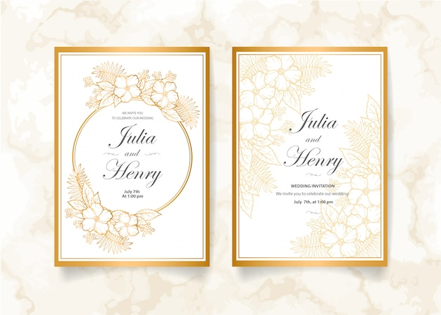 Beautiful wedding invitation card with gentle golden flowers