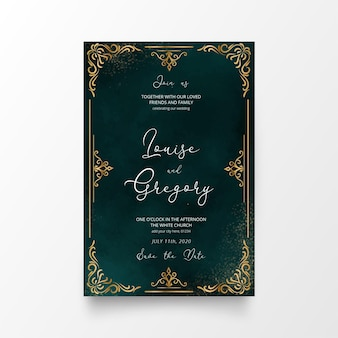 Beautiful wedding invitation card with golden ornaments