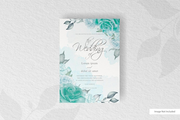 Beautiful wedding invitation card with greenery floral and watercolor splash