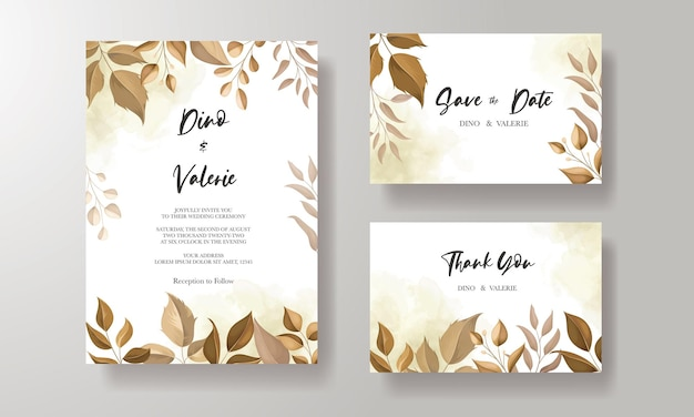 Beautiful wedding invitation card with leaf decoration
