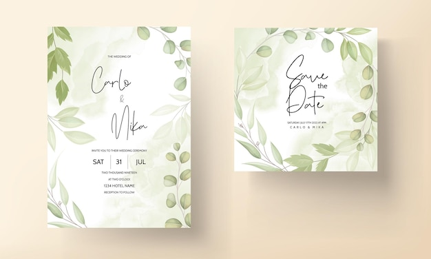 잎 장식으로 아름 다운 결혼식 초대 카드